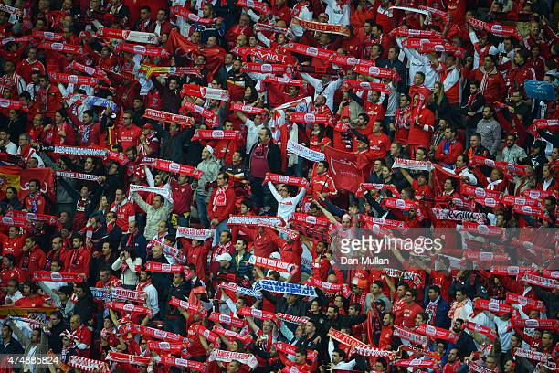 Seviila fans show their support during the UEFA Europa League Final match between FC Dnipro Dnipropetrovsk and FC Sevilla on May 27 2015 in Warsaw...