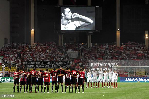 Sevilla and Milan AC's players observe a minute of silent in honor of late Spanish defender Antonio Puerta prior the begining of the european Super...