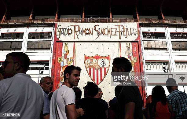 Sevilla CF fans gather outside the Estadio Ramon Sanchez Pizjuan ahead of the La Liga match between Sevilla FC and Real Madrid CF at Estadio Ramon...