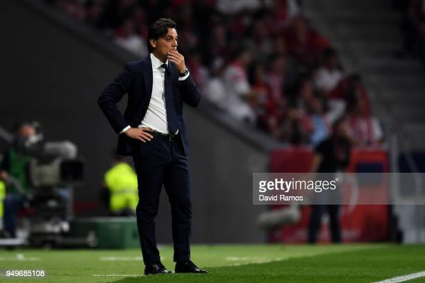 Sevilla coach Vincenzo Montella looks on dejected from the touch line during the Spanish Copa del Rey match between Barcelona and Sevilla at Wanda...