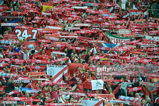 Sevilla fans before the start of the UEFA Europa League Final match between FC Dnipro Dnipropetrovsk and FC Sevilla on May 27 2015 in Warsaw Poland...