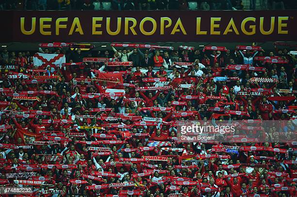 Sevilla fans celebrate victory after the UEFA Europa League Final match between FC Dnipro Dnipropetrovsk and FC Sevilla on May 27 2015 in Warsaw...