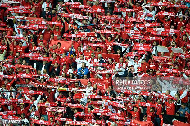 Sevilla fans cheer is pictured during the UEFA Europa League final football match between FC Dnipro Dnipropetrovsk and Sevilla FC at the Narodowy...