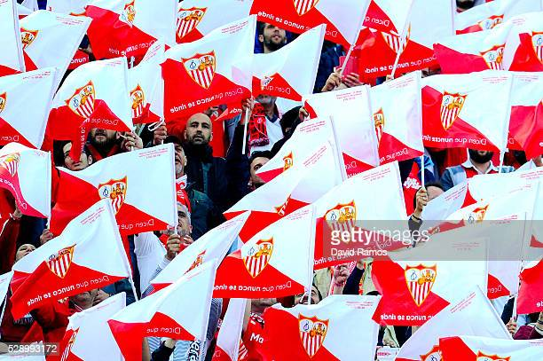 Sevilla fans cheer on before the kick off during the UEFA Europa League Semi Final second leg match between Sevilla and Shakhtar Donetsk at Estadio...