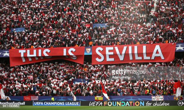 Sevilla fans hold up a banner prior to the UEFA Champions League Quarter Final Leg One match between Sevilla FC and Bayern Muenchen at Estadio Ramon...