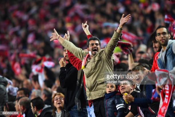 Sevilla fans show their support during the UEFA Champions League Round of 16 first leg match between Sevilla FC and Leicester City at Estadio Ramon...
