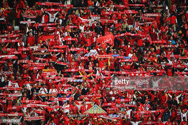 Sevilla fans show their support prior to the UEFA Europa League Final match between FC Dnipro Dnipropetrovsk and FC Sevilla on May 27 2015 in Warsaw...