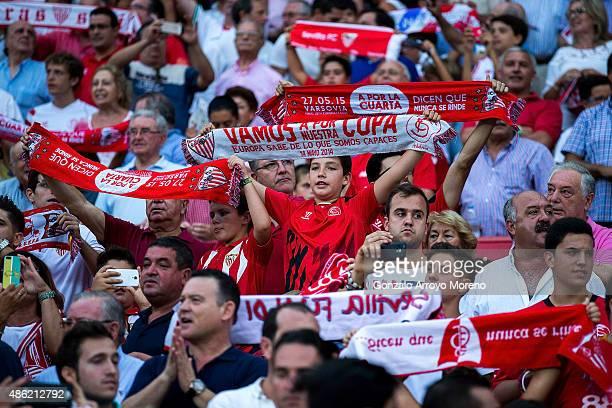 Sevilla fans sing their anthem prior to start the La Liga match between Sevilla FC and Club Atletico de Madrid at Estadio Ramon Sanchez Pizjuan on...