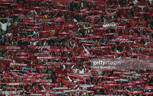 Sevilla fans support their team during the UEFA Europa League Final match between FC Dnipro Dnipropetrovsk and FC Sevilla at the National Stadium on...