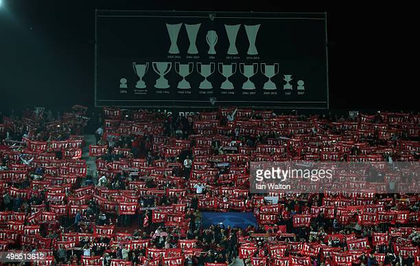 Sevilla FC fans show their support during the UEFA Champions League Group D match between Sevilla FC and Manchester City FC at Estadio Ramon Sanchez...