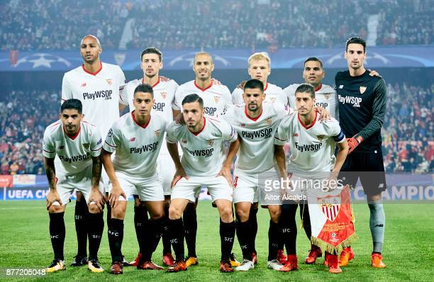 Sevilla FC line up for a team photo prior to the UEFA Champions League group E match between Sevilla FC and Liverpool FC at Estadio Ramon Sanchez...