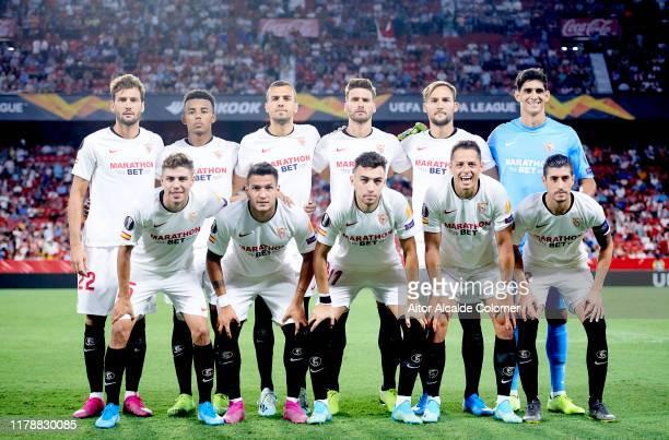 Sevilla FC line up for a team photo prior to the UEFA Europa League group A match between Sevilla FC and APOEL Nikosia at Estadio Ramon Sanchez...