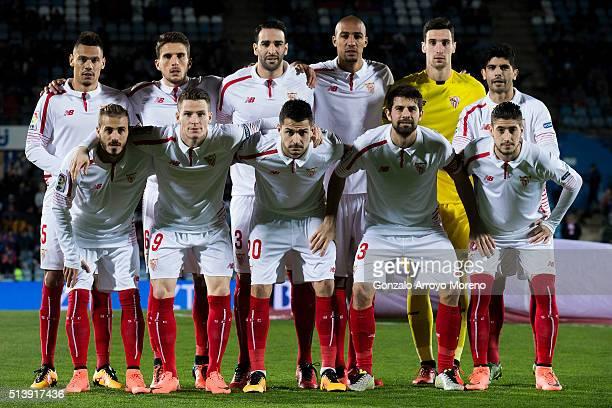Sevilla FC line up prior to start the La Liga match between Getafe CF and Sevilla CF at Coliseum Alfonso Perez on March 5 2016 in Getafe Spain