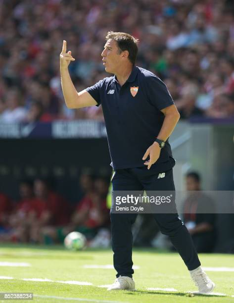 Sevilla FC manager Eduardo Berizzo reacts during the La Liga match between Atletico Madrid and Sevilla at Wanda Metropolitano on September 23 2017 in...
