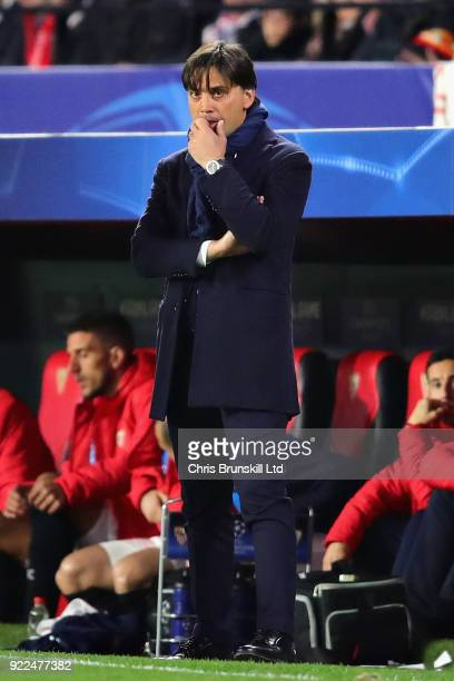 Sevilla FC manager Vincenzo Montella looks on during the UEFA Champions League Round of 16 First Leg match between Sevilla FC and Manchester United...
