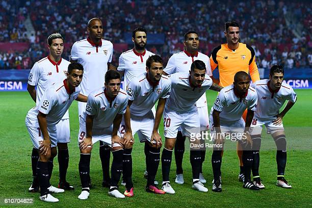 Sevilla FC players pose for a team picture prior to the UEFA Champions League Group H match between Sevilla FC and Olympique Lyonnais at the Ramon...