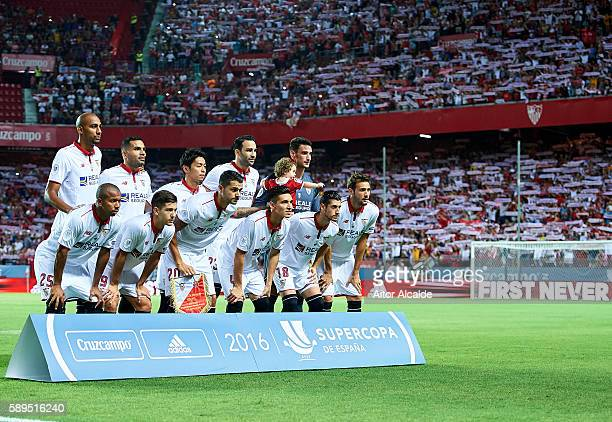 Sevilla FC poses for a photo prior to the match between Sevilla FC vs FC Barcelona as part of the Spanish Super Cup Final 1st Leg at Estadio Ramon...