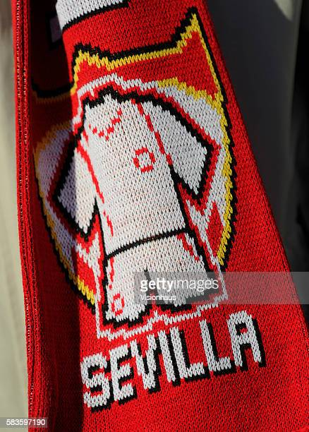 Sevilla FC scarves with club badges at the UEFA Super Cup Final between Real Madrid and Sevilla at the Cardiff City Stadium in Cardiff UK Photo...
