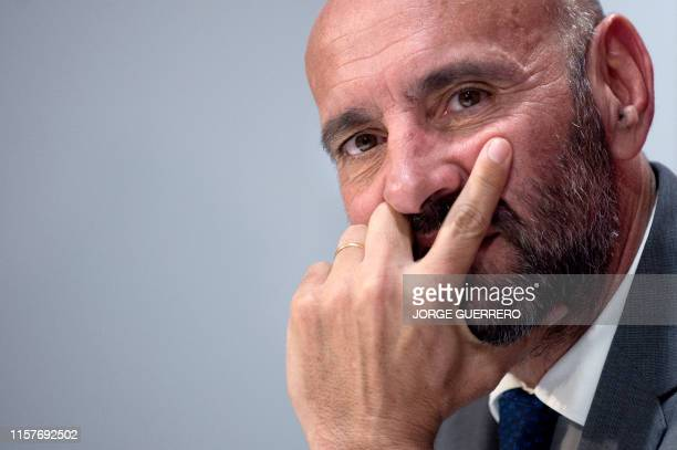Sevilla FC's director of football, Monchi, attends a press conference to present French defender Jules Kounde as new player the Spanish club at the...