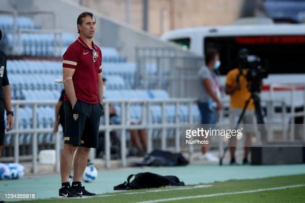 Sevilla FC's head coach Julen Lopetegui looks on during an international club friendly football match between AS Roma and Sevilla FC at the Algarve...