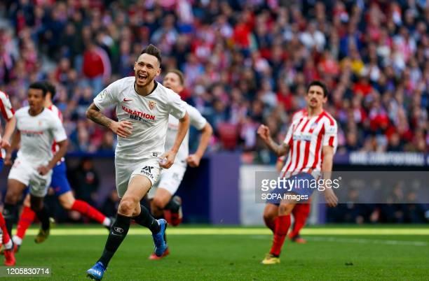 Sevilla FC's Lucas Ocampos celebrates a goal celebrates a goal during the Spanish La Liga match round 27 between Atletico de Madrid and Sevilla FC at...