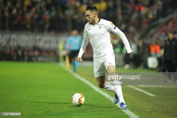 Sevilla FC's Lucas Ocampos controls the ball during the UEFA Europa League round of 32 first leg match between CFR Cluj and Sevilla FC at...