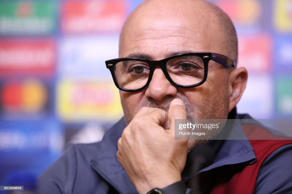 Sevilla manager Jorge Sampaoli during the Sevilla press conference at King Power Stadium on March 13 , 2017 in Leicester, United Kingdom.