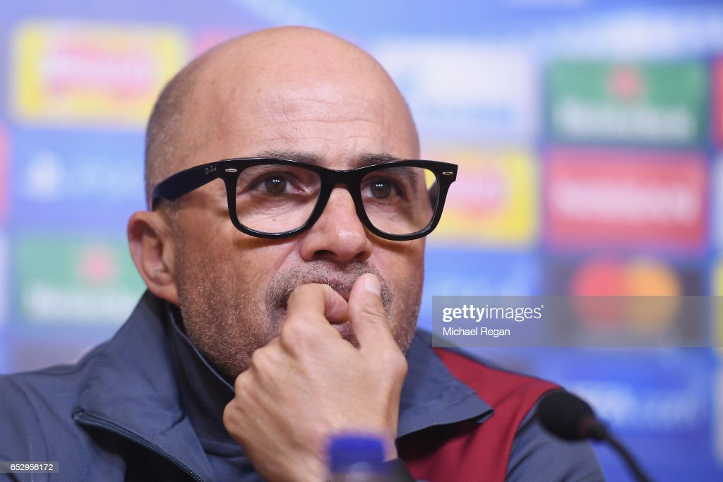Sevilla manager Jorge Sampaoli speaks to the media during the Sevilla press conference at The King Power Stadium on March 13, 2017 in Leicester, England.
