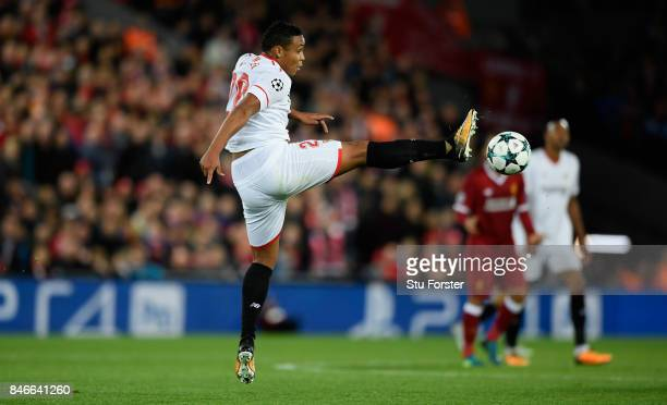 Sevilla player Luis Muriel in action during the UEFA Champions League group E match between Liverpool FC and Sevilla FC at Anfield on September 13...