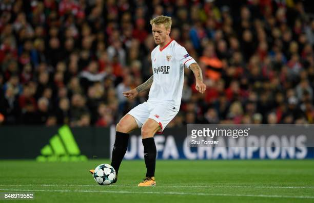 Sevilla player Simon Kjaer in action during the UEFA Champions League group E match between Liverpool FC and Sevilla FC at Anfield on September 13...