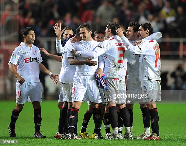 Sevilla players celebrate at the end of the last 16 second leg Copa del Rey match between Barcelona and Sevilla at the Ramon Sanchez Pizjuan stadium...
