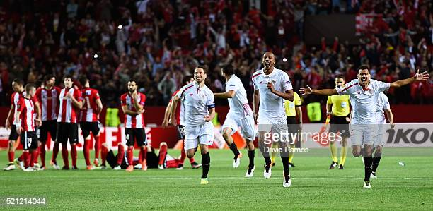 Sevilla players celebrate victory after the penalty shoot out during the UEFA Europa League quarter final, second leg match between Sevilla and...