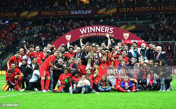 Sevilla players celebrate victory with the trophy after the UEFA Europa League Final match between FC Dnipro Dnipropetrovsk and FC Sevilla on May 27...