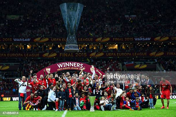 Sevilla players celebrate victory with the trophy after the UEFA Europa League Final match between FC Dnipro Dnipropetrovsk and FC Sevilla on May 27,...