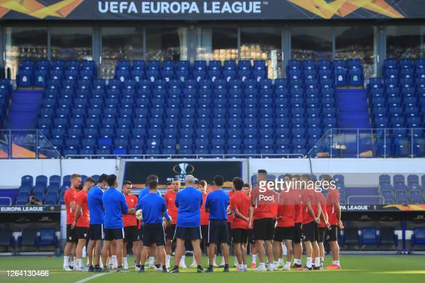 Sevilla players gather during a Sevilla Training Session And Press Conference at MSV Arena on August 05 2020 in Duisburg Germany