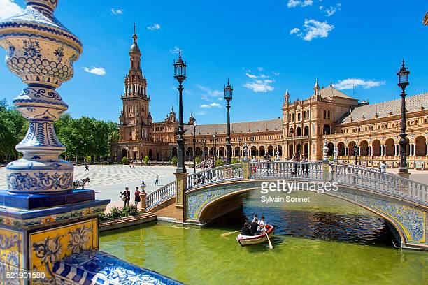 sevilla, plaza de espana - sevilla fotografías e imágenes de stock