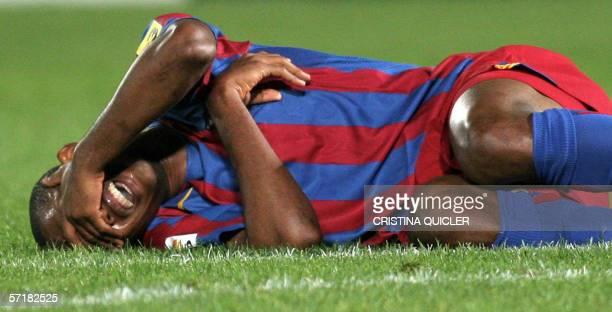 Barcelona's Eto'o reacts during a Spanish league football match at the La Rosaleda stadium in Malaga 25 March 2006 AFP PHOTO/ CRISTINA QUICLER