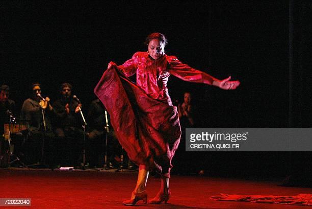 Flamenco dancer Carmen Cortes takes part in a rehearsal for the show 'Lorca's women' part of the XIV Flamenco Biennial at the Lope de Vega theatre in...
