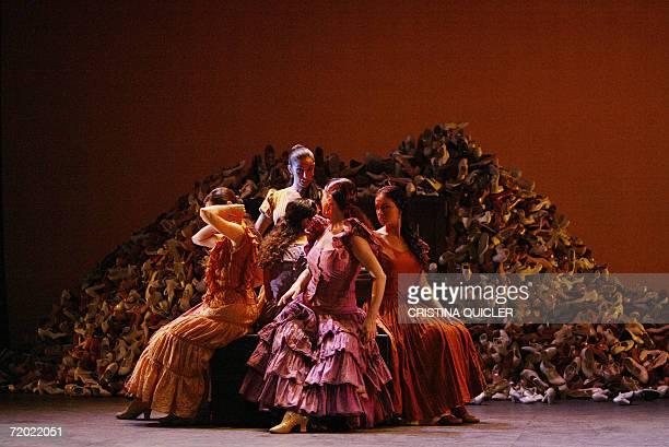 Flamenco dancers take part in a rehearsal for the show 'Lorca's women' part of the XIV Flamenco Biennial at the Lope de Vega theatre in Sevilla 27...