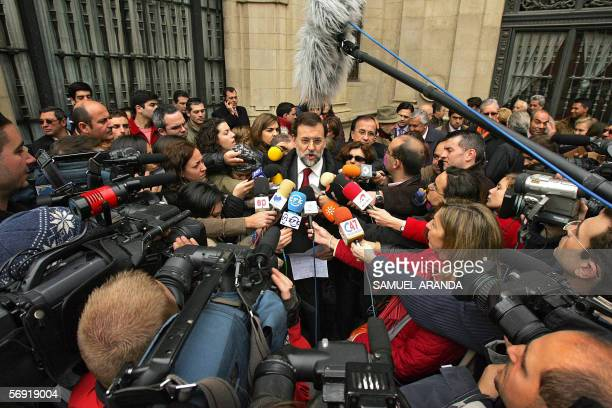Spanish leader of conservator popular party Mariano Rajoy speaks to the medias during the celebration of the number 2000000 signer for the petition...