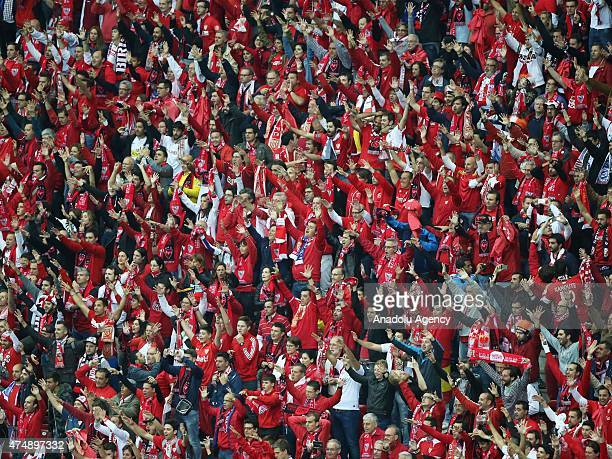 Sevilla supporters are seen during the the UEFA Europa League Final match between FC Dnipro Dnipropetrovsk and FC Sevilla on May 27 2015 in Warsaw...