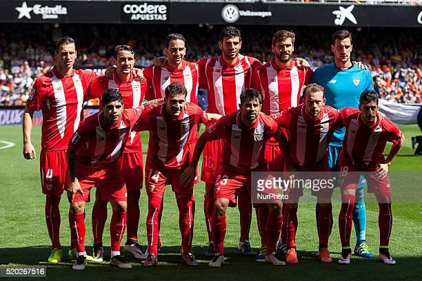 Sevilla team during La Liga match between Valencia CF and Sevilla CF at Mestalla Stadium in Valencia on April 10 2016