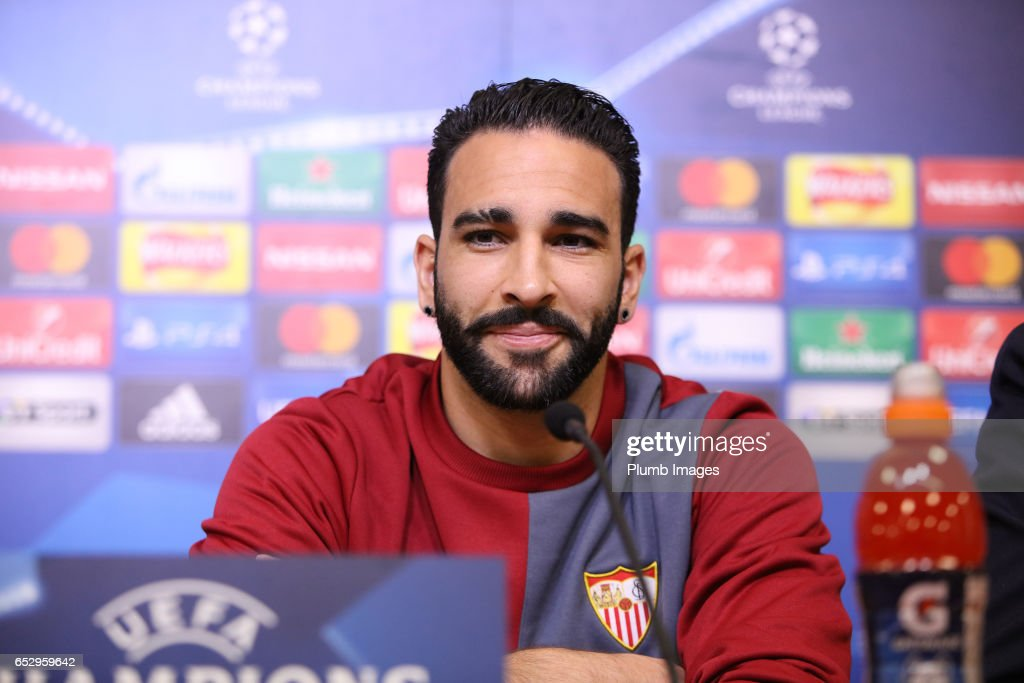 Sevilla's Adil Rami during the Sevilla press conference at King Power Stadium on March 13 , 2017 in Leicester, United Kingdom.