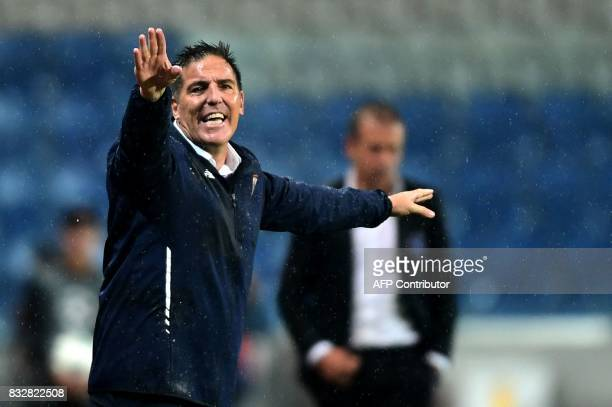 Sevilla's Argentine head coach Eduardo Berizzo gestures during the UEFA Champions League play-off first leg football match between Istanbul...