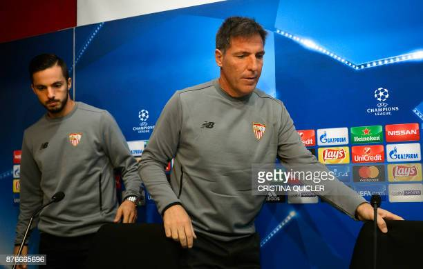 Sevilla's Argentinian coach Eduardo Berizzo and Sevilla's midfielder Pablo Sarabia arrive to give a press conference at Ramon Sanchez Pizjuan stadium...