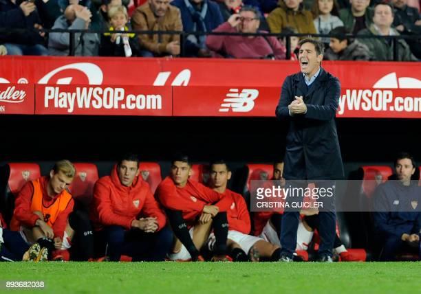 Sevilla's Argentinian coach Eduardo Berizzo applauds on the sideline during the Spanish league football match Sevilla FC vs Levante at the Ramon...