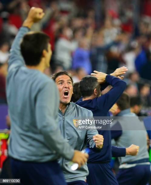 Sevilla's Argentinian coach Eduardo Berizzo celebrates a goal during the UEFA Champions League group E football match between Sevilla and Spartak...