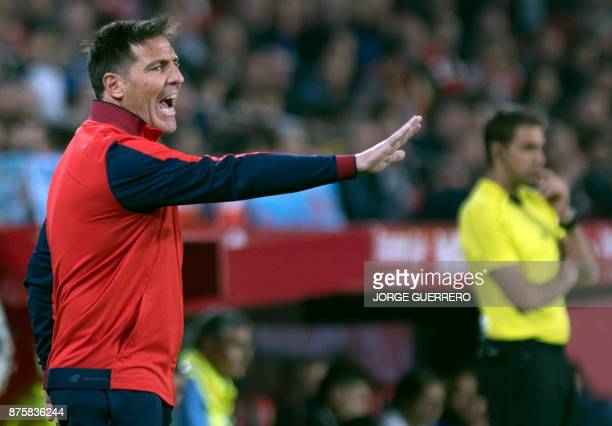 Sevilla's Argentinian coach Eduardo Berizzo gestures during the Spanish league football match Sevilla vs Celta Vigo at the Ramon Sanchez Pizjuan...