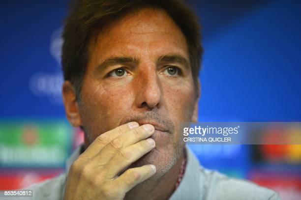 Sevilla's Argentinian coach Eduardo Berizzo gives a press conference in Sevilla on September 25, 2017 on the eve of the UEFA Champions League Group E...