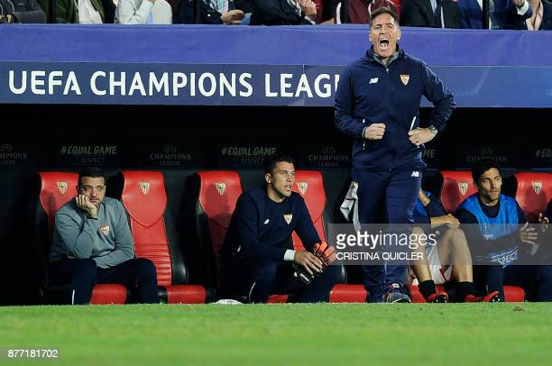 Sevilla's Argentinian coach Eduardo Berizzo gives instructions to his players on November 21 2017 at the Ramon Sanchez Pizjuan stadium in Sevilla...